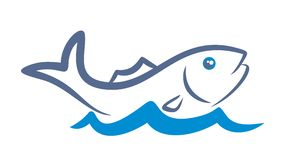 Logo fish. A logo of fish with a blue wave Royalty Free Stock Photo