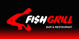 Logo for the fish restaurant. On a black background Stock Photos