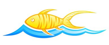 Logo fish with wave. A logo of fish with a blue wave Stock Image