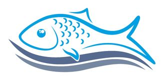 Logo of fish with wave. A logo of sea fish with blue wave Stock Photography