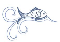 Logo of fish with wave. A logo of sea fish with a blue wave Stock Photo