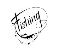 Logo fishing in a contour style. Fishing logo black contour insulated Stock Image