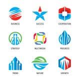 Logo fissato - segno astratto di affari Strategia, tecnologia, successo, frecce, crescita, multimedia, tendenza, natura Illustraz immagini stock