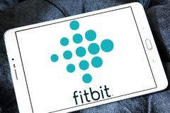 Fitbit company logo. Logo of Fitbit company on samsung tablet . Fitbit is an American company known for its products of the same name, which are activity Royalty Free Stock Photos