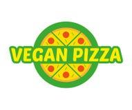 Logo pizza. Logo flat icon element circle hot appetizing piece of abstract vegan pizza. Fresh light eco vegetarian 100 natural raw vegan eat street food Royalty Free Stock Photo