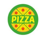 Logo pizza. Logo flat icon element circle hot appetizing piece of abstract vegan pizza. Fresh light eco vegetarian 100 natural raw vegan eat street food Royalty Free Stock Photos