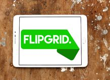 Flipgrid community logo. Logo of Flipgrid community on samsung tablet. Flipgrid is a video discussion community for your classroom that supercharges your royalty free stock images