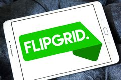 Flipgrid community logo. Logo of Flipgrid community on samsung tablet. Flipgrid is a video discussion community for your classroom that supercharges your stock photos