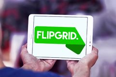 Flipgrid community logo. Logo of Flipgrid community on samsung tablet. Flipgrid is a video discussion community for your classroom that supercharges your royalty free stock photography