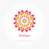 Logo for flower shop, interior. Pink, blue color. Circular logos. Flower logo. Royalty Free Stock Images