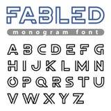 Logo Font-Vektoralphabetdesign lineares ABC umreißen Schriftbild Lizenzfreies Stockfoto