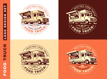 Logo of food truck. Round logo of food truck, the logos have a retro look Stock Photos