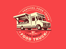 Logo of food truck. Round logo of food truck, the logos have a retro look royalty free illustration