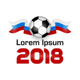 Logo Football Championship 2018. With shadow. Poster With Flag Of Russia. Vector Illustration. Flat colored banner isolated soccer ball concept. World Cup Stock Image