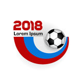 Logo Football Championship 2018. With shadow. Poster With Flag Of Russia. Vector Illustration. Flat colored banner isolated soccer ball concept. World Cup Stock Photo