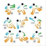 Logo football sport Design Collection. Freeform. Normal people`s. Sport. Disabled people. symbol. Abstract. vector illustration. on white background Stock Photos