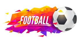Logo for football teams or tournaments, championships of soccer. Trendy gradient, low-poly backdrop with ball and Royalty Free Stock Image
