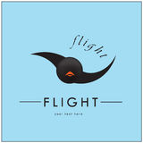 Logo in the form of a bird. Bird flying fast and rapidly Royalty Free Stock Images