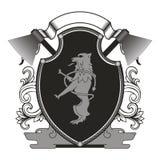 Logo in Form von Schild Stockbilder