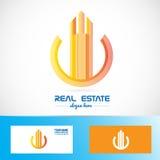 Logo för abstrakt symbol för byggnad för fastighet orange Royaltyfria Bilder