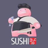 Logo för sushivektormall, symbol, emblem Fotografering för Bildbyråer