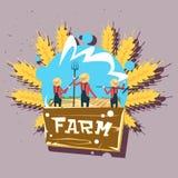 Logo frais de ferme de Group Wheat Harvest Eco d'agriculteur Image libre de droits