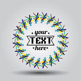 Logo in frame with mini doodles and text Stock Image