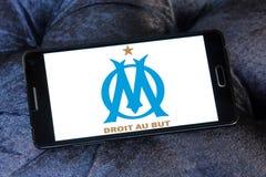 Olympique de Marseille soccer club logo. Logo of french soccer club Olympique de Marseille on samsung mobile Royalty Free Stock Photo