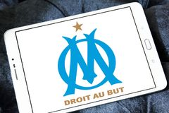 Olympique de Marseille soccer club logo. Logo of french soccer club Olympique de Marseille on samsung tablet Stock Photos