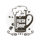 Logo fresh beer with foam and pieces of ice. Illustration Stock Photography