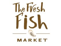 Logo The fresh fish market brown color with illustration of oyster. Logotype The fresh fish market red color with illustration of squid of violet color.Template Stock Image