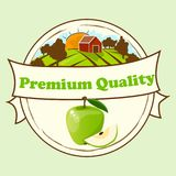Logo of fresh juice. Logo of fresh green apple. Vector round label, apple jam, sauce or juice label. yummy apply on lable with farm or ambar on green meadow Stock Photography