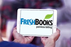 Freshbooks cloud accounting logo. Logo of Freshbooks cloud accounting company on samsung tablet . Freshbooks, Inc., provides cloud-based accounting solutions for Stock Photos
