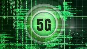 logo 5g sur un bouton avec une analyse par ordinateur illustration libre de droits