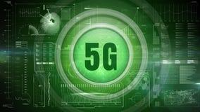 logo 5g sur un bouton contre le tableau de bord technologique illustration libre de droits