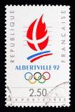 Logo Games Albertville olímpico, serie, cerca de 1990 fotografia de stock royalty free