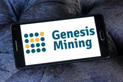 Genesis Mining cloud mining company logo. Logo of Genesis Mining company on samsung mobile. Genesis Mining is a company that sells bitcoin mining contracts and Royalty Free Stock Photography