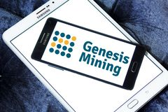 Genesis Mining cloud mining company logo. Logo of Genesis Mining company on samsung mobile. Genesis Mining is a company that sells bitcoin mining contracts and Stock Photography