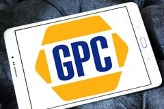 Genuine Parts Company, GPC, logo. Logo of Genuine Parts Company, GPC, on samsung tablet. Genuine Parts Company GPC is an American service organization engaged in Royalty Free Stock Photo