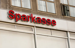 The logo of the German bank Sparkasse. BERLIN, GERMANY - MAY 30, 2014:The logo of the German bank Sparkasse Stock Photography