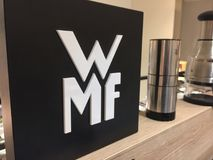 Logo of the German company WMF. Berlin, Germany - January 27, 2018: WMF logo. Wuerttembergische Metallwarenfabrik is a German silverware manufacturer Stock Photos