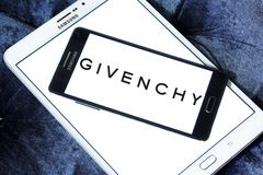 Givenchy fashion company logo. Logo of Givenchy fashion company on samsung mobile . Givenchy is a French luxury fashion and perfume house. It hosts the brand of Stock Image