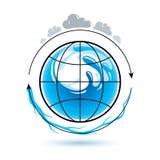 Logo globale di vettore di circolazione dell'acqua per uso come progettazione di vendita illustrazione di stock
