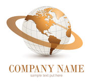 Logo globe. Logo earth globe, gold planet with dynamic orbit Royalty Free Stock Images