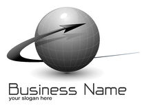 Logo globe, vector. Logo globe with dynamic arrow black and white Royalty Free Stock Photography