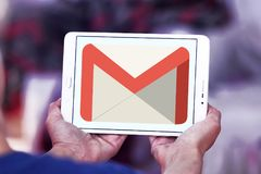 Gmail logo. Logo of Gmail on samsung tablet. Gmail is a free, advertising-supported email service developed by Google. Users can access Gmail on the web and Royalty Free Stock Image