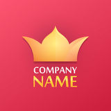 Logo with Golden Crown. Logo of Golden Crown with Caption Sample. Vector Illustration isolated on red background stock illustration
