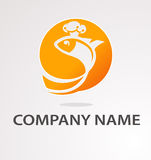 Logo with golden fish. Cook logo with golden fish in tiara Royalty Free Stock Images