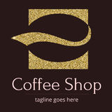 Logo with a Golden glitter, sheen. Symbol for coffee shop or coffee business. A stylized coffee bean in the form of a. Silhouette of the character. Logo Stock Photo