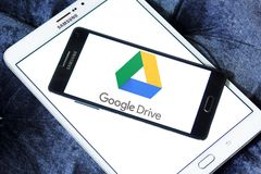 Google Drive logo. Logo of Google Drive on samsung mobile. Google Drive is a file storage and synchronization service developed by Google. it allows users to Stock Images